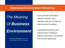 Business Environment Meaning Powerpoint Slide Clipart