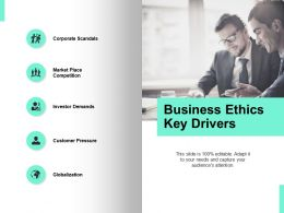 Business Ethics Key Drivers Customer Pressure Globalization Ppt Powerpoint Presentation Icon Deck