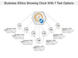 Business Ethics Showing Clock With 7 Text Options