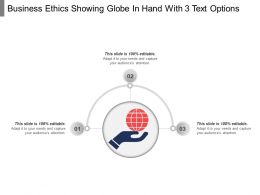 Business Ethics Showing Globe In Hand With 3 Text Options