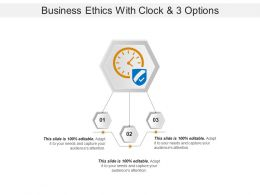 Business Ethics With Clock And 3 Options
