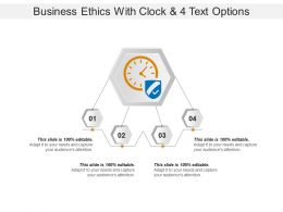 Business Ethics With Clock And 4 Text Options
