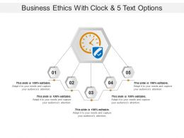 Business Ethics With Clock And 5 Text Options