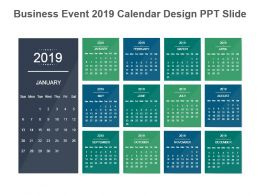 Business Event 2019 Calendar Design Ppt Slide
