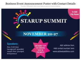 Business Event Announcement Poster With Contact Details