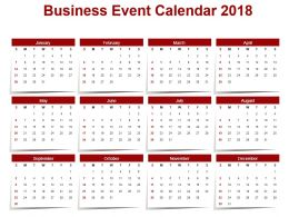 Business Event Calendar 2018 Ppt Slide