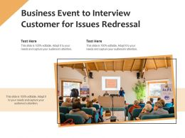 Business Event To Interview Customer For Issues Redressal