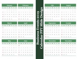Business Events 2019 Calendar Ppt Slide Design