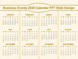 Business Events 2020 Calendar Ppt Slide Design