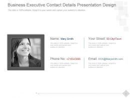 Business Executive Contact Details Presentation Design