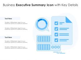 Business Executive Summary Icon With Key Details