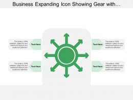 Business Expanding Icon Showing Gear With Multidirectional Arrows