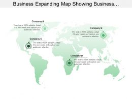 Business Expanding Map Showing Business Locations