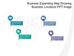 Business Expanding Map Showing Business Locations Ppt Image