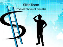 Business Expansion Strategy Powerpoint Templates Dollar Ladder Success Ppt Slides