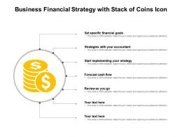 Business Financial Strategy With Stack Of Coins Icon