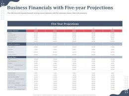 Business Financials With Five Flow Statement Ppt Powerpoint Clipart