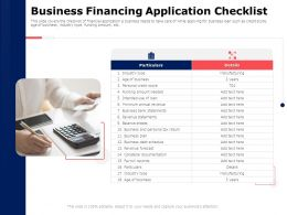 Business Financing Application Checklist Return Ppt Powerpoint Presentation Icon Backgrounds