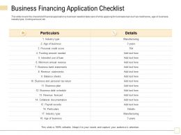 Business Financing Application Checklist Type Ppt Powerpoint Presentation Slides