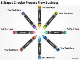 Business Flow Chart 8 Stages Circular Process Powerpoint Slides