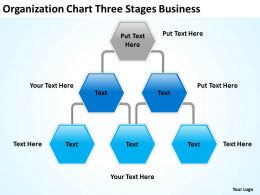 Business Flow Chart Organization Three Stages Powerpoint Templates