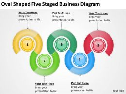 Business Flow Chart Oval Shaped Five Staged Diagram Powerpoint Templates