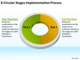 Business Flow Charts Examples 8 Circular Stages Implementation Process Powerpoint Templates