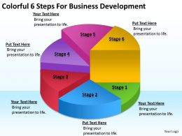 Business Flow Charts Examples Colorful 6 Steps For Development Powerpoint Slides