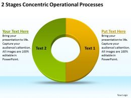 Business Flow Diagram Example 2 Stages Concentric Operational Processes Powerpoint Templates