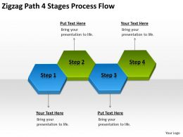 Business Flow Diagram Example Zigzag Path 4 Stages Process Powerpoint Slides 0522