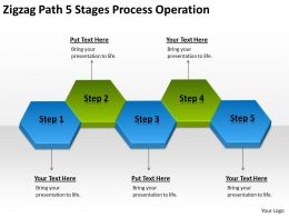 Business Flow Diagram Example Zigzag Path 5 Stages Process Operation Powerpoint Slides 0522