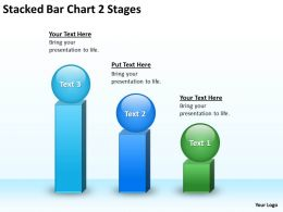 Business Flow Diagram Stacked Bar Chart 2 Stages Powerpoint Templates PPT Backgrounds For Slides