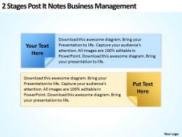 Business Flow Diagrams 2 Stages Post It Notes Management Powerpoint Templates