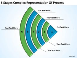 Business Flow Diagrams 6 Stages Complex Representation Of Process Powerpoint Slides