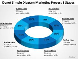 Business Flow Diagrams Donut Simple Marketing Process 8 Stages Powerpoint Slides