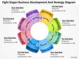 Business Flow Diagrams Eight Stages Development And Strategy Powerpoint Slides