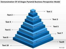 Business Flowchart Demonstration Of 10 Stages Pyramid Perspective Model Powerpoint Slides