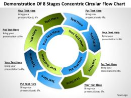 Business Flowchart Demonstration Of 8 Stages Concentric Circular Powerpoint Slides