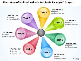 Business Flowchart Illustration Of Multicolored Hub And Spoke Paradigm 7 Stages Powerpoint Slides