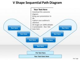 Business Flowcharts V Shape Sequential Path Diagram Powerpoint Templates