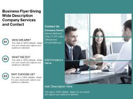 Business Flyer Giving Wide Description Company Services And Contact