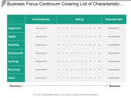 Business Focus Continuum Covering List Of Characteristic At Different Levels