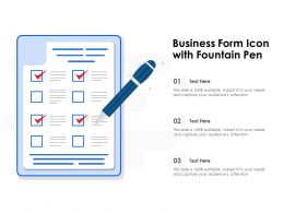 Business Form Icon With Fountain Pen