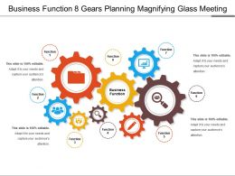 Business Function 8 Gears Planning Magnifying Glass Meeting