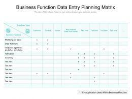 Business Function Data Entity Planning Matrix