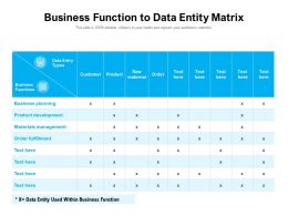 Business Function To Data Entity Matrix