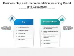 Business Gap And Recommendation Including Brand And Customers