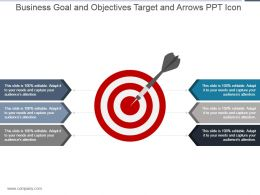 Business Goal And Objectives Target And Arrows Ppt Icon