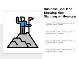 Business Goal Icon Showing Man Standing On Mountain