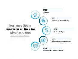 Business Goals Semicircular Timeline With Six Sigma